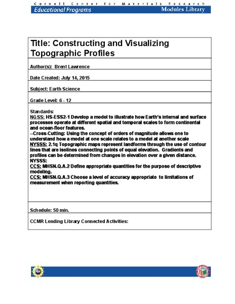 Constructing and Visualizing Topographic Profiles Lesson Plan