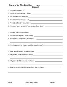 Island of the Blue Dolphins: Reading Comprehension Worksheet