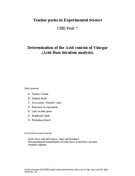 acid content of vinegar
