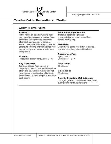 Generations Of Traits Worksheet For 5th 7th Grade Lesson