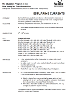 Estuarine Currents Lesson Plan