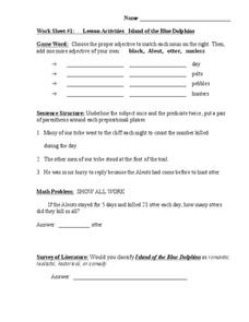 Island of the Blue Dolphins: Lesson Activities Worksheet