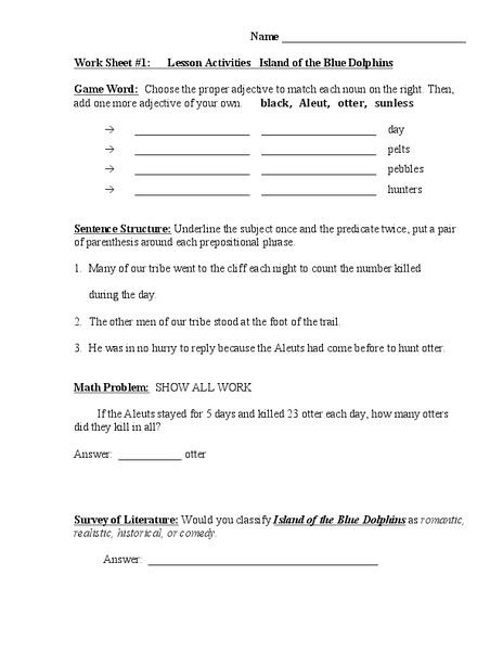 Island Of The Blue Dolphins Lesson Activities Worksheet
