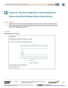 The Division Algorithm—Converting Decimal Division into Whole Number Division Using Fractions Assessment