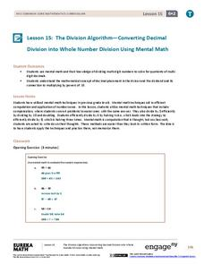 The Division Algorithm—Converting Decimal Division into Whole Number Division Using Mental Math Lesson Plan