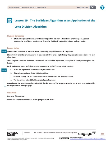 The Euclidean Algorithm as an Application of the Long Division Algorithm Assessment