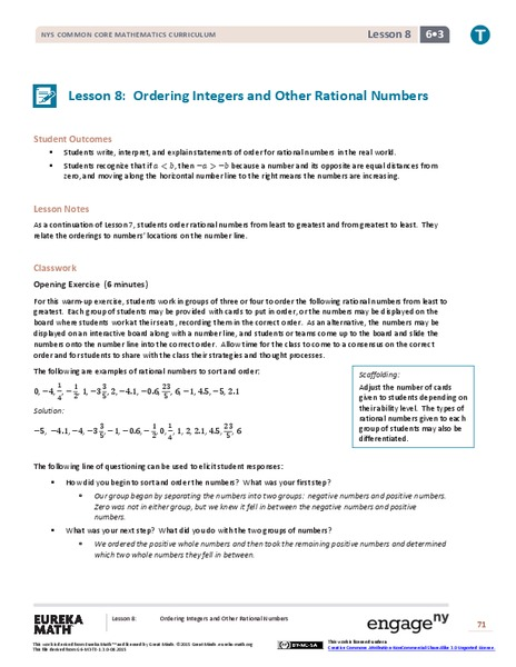 Ordering Integers and Other Rational Numbers II Lesson Plan