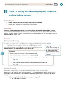Writing and Interpreting Inequality Statements Involving Rational Numbers Lesson Plan