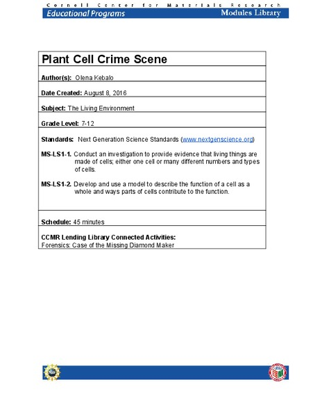 Plant Cell Crime Scene Lesson Plan
