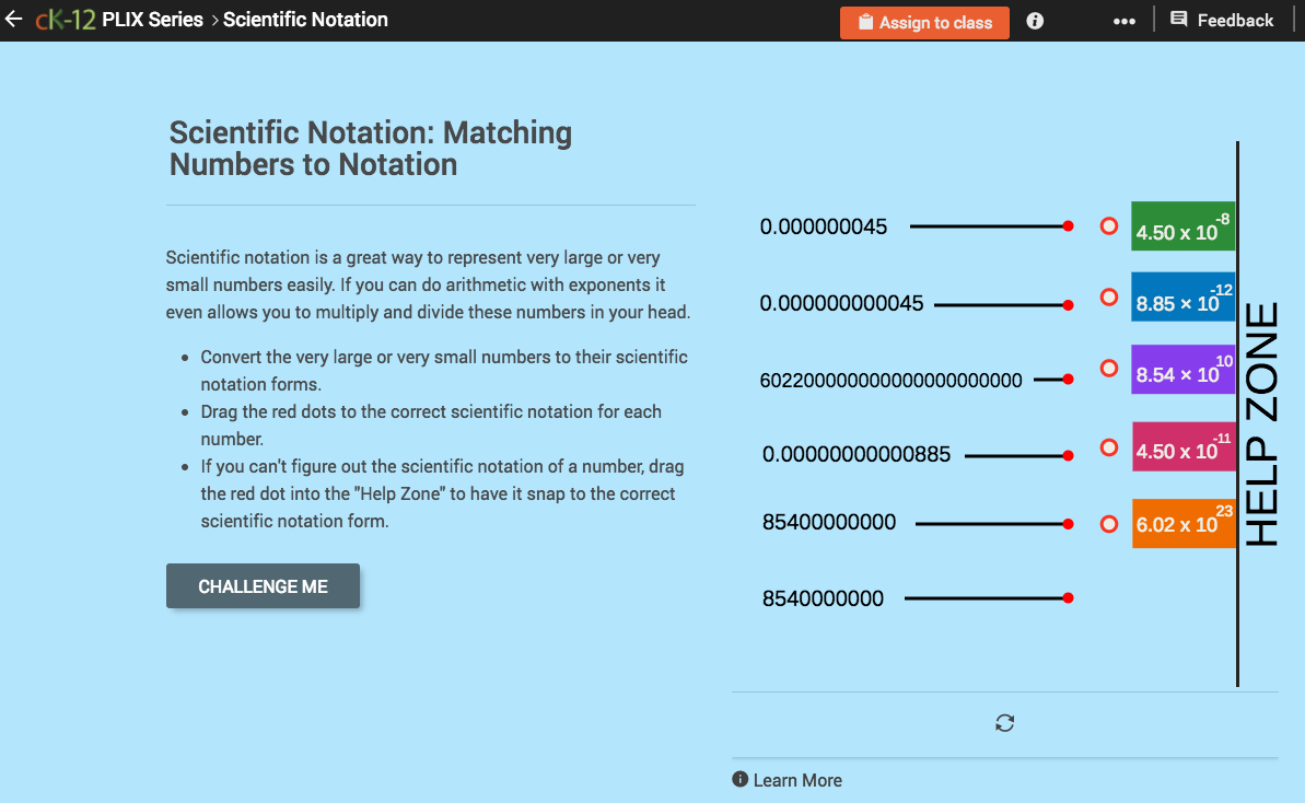 scientific notation  matching numbers to notation interactive for 8th