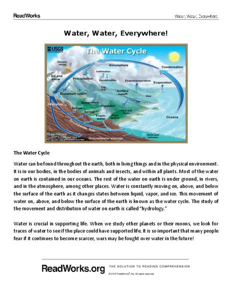 Water Water Everywhere Worksheet For 5th Grade Lesson Planet