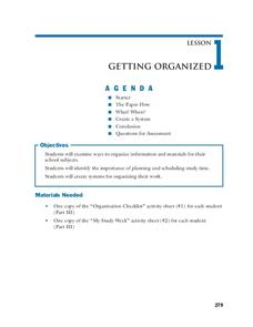 Getting Organized Lesson Plan