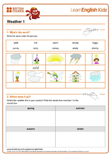 Weather 1 Worksheet