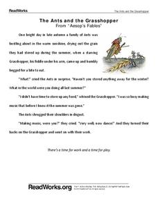 photograph regarding The Ant and the Grasshopper Story Printable known as Ant and the Grhopper Lesson Packages Worksheets