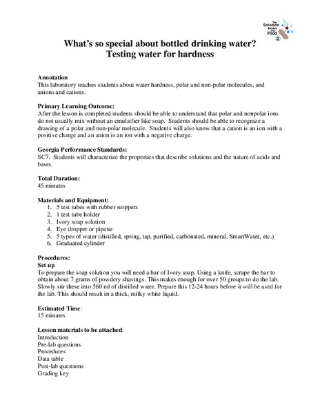 What's So Special about Bottled Drinking Water? Lab Resource