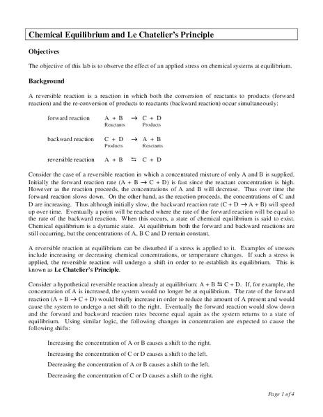 Chemical Equilibrium and Le Chatelier's Principle Lesson