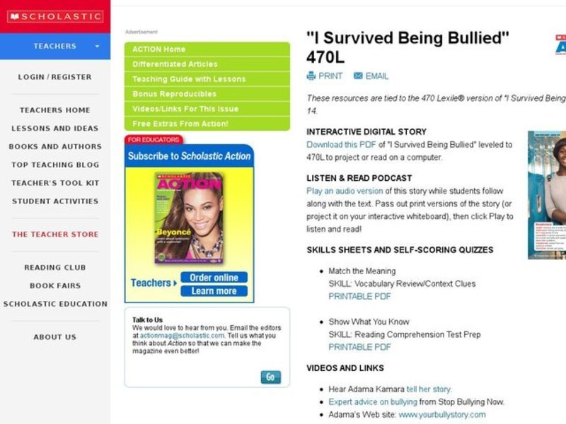 I Survived Being Bullied Activities & Project