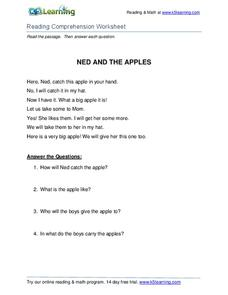Ned and the Apples Worksheet