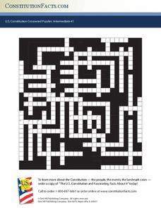 U.S. Constitution Crossword Puzzles: Intermediate #1 Worksheet