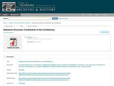 Alabama's Economic Contribution to the Confederacy Lesson Plan