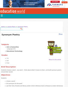 Synonym Poetry Lesson Plan