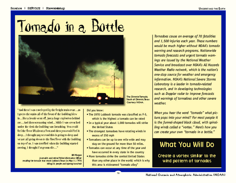 Tornado in a Bottle Activities & Project