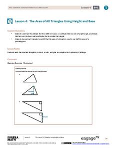 The Area of All Triangles Using Height and Base Lesson Plan