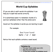 World Cup Syllables Worksheet
