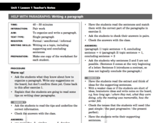 Help With Paragraphs: Writing A Paragraph Lesson Plan