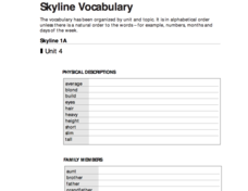 Skyline Vocabulary Worksheet