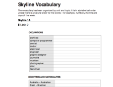 Skyline Vocabulary Unit 2 Worksheet