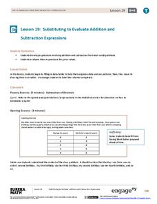 Substituting to Evaluate Addition and Subtraction Expressions Lesson Plan