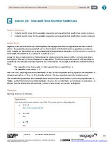 True and False Number Sentences II Lesson Plan