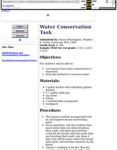 Water Conservation Task Lesson Plan