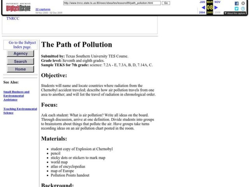 The Path of Pollution Lesson Plan