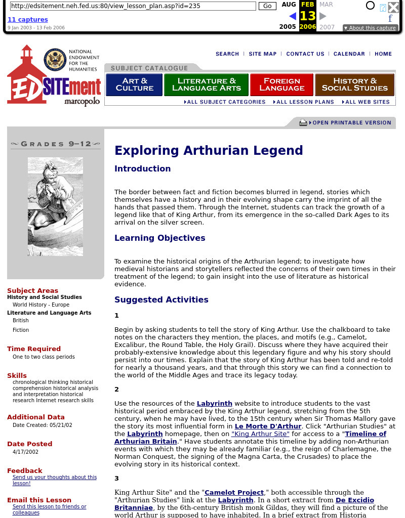 Exploring Arthurian Legend Lesson Plan