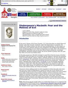 Shakespeare's Macbeth: Fear and the Motives of Evil Lesson Plan