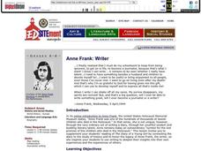 Anne Frank: Writer Lesson Plan