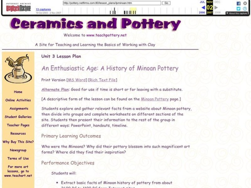 An Enthusiastic Age: A History of Minoan Pottery Lesson Plan