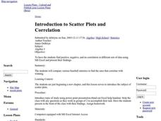 Introduction to Scatter Plots and Correlation Lesson Plan