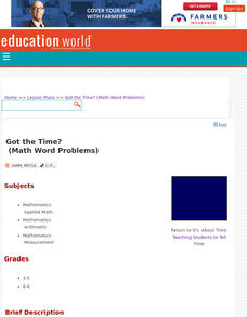 Got the Time? (Math Word Problems) Lesson Plan