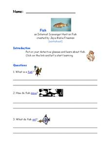 Internet Research on Fish Worksheet