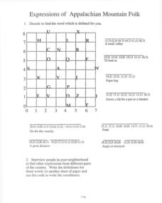 Expressions of Appalachian Mountain Folk Worksheet