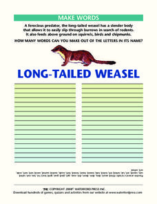 Make Words:  Long-Tailed Weasel Worksheet