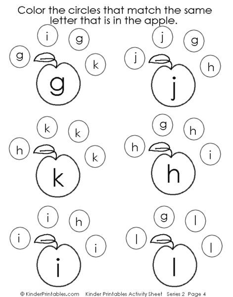 Letter Matching- g, h, i, j, k, l Worksheet for Pre-K ...