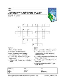 Geography Crossword Puzzle Worksheet