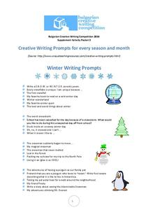 Creative Writing Prompts For Every Season and Month Worksheet