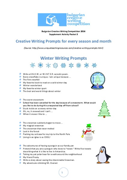 Creative Writing Prompts For Every Season and Month Printables & Template