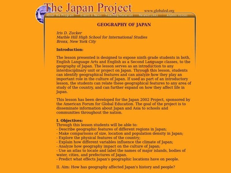 GEOGRAPHY OF JAPAN Lesson Plan