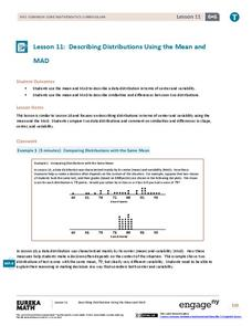 Describing Distributions Using the Mean and MAD II Lesson Plan